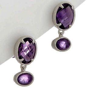 Judith Ripka Amethyst stud drop earrings.925 NWT's
